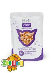 Brit Care Cat Влажный корм Курица и сыр для КОТЯТ  pouch (80g)