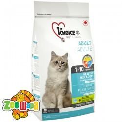 1st Choice Сухой корм для взрослых котов для здоровой кожи и блестящей шерсти Healthy Skin&Coat Adult с лососем (0,907 кг)