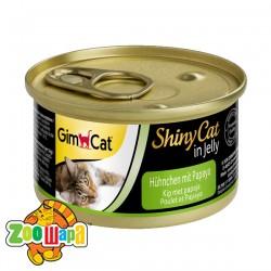 """Gimpet Влажный корм для кошек """"Курица и папайя"""" кусочки в желе Gimcat ShinyCat Filet (70 г)"""