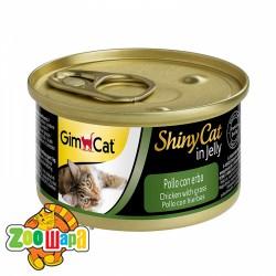"""Gimpet Влажный корм для кошек """"Курица и трава"""" кусочки в желе Gimcat ShinyCat Filet (70 г)"""