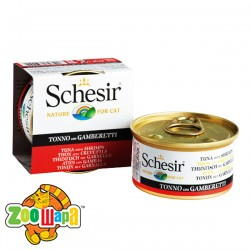 Schesir Влажный корм для кошек Tuna Prawns тунец с креветками в желе (85 г)