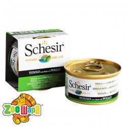 Schesir Влажный корм для кошек Tuna Chicken тунец с филе курицы в желе (85 г)