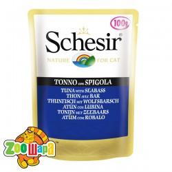 Schesir Влажный корм для кошек Tuna Seabass тунец с морским окунем в желе, пауч (100 г)