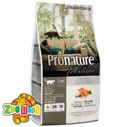 Pronature Holistic Сухой корм для взрослых кошек всех пород Adult Turkey&Cranberries индейка и клюква (5,44 кг)