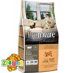 Pronature Holistic Сухой корм для взрослых кошек Cat food ADULT с уткой и апельсинами, без злаков (340 г)