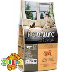 Pronature Holistic Сухой корм для взрослых кошек Cat food ADULT с уткой и апельсинами, без злаков (5.44 кг)