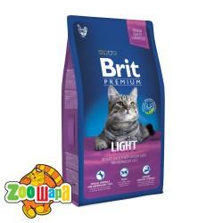 Brit Premium Cat Light  (8 kг) сухой корм с курицей для взрослых кошек всех пород с избыточным весом